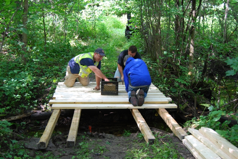 Volunteers build a new bridge on Ottawa trails.